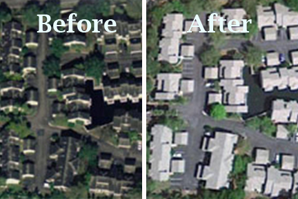 Apartment Roof Cleaning Before and After satellite view.
