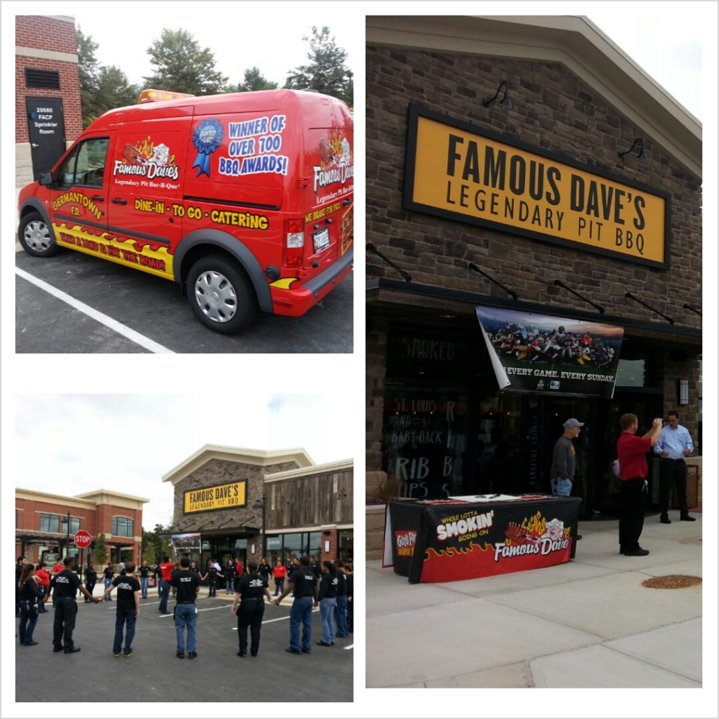 Opening day for Famous Dave's Germantown. Part of our regular route of Window Cleaning Customers.