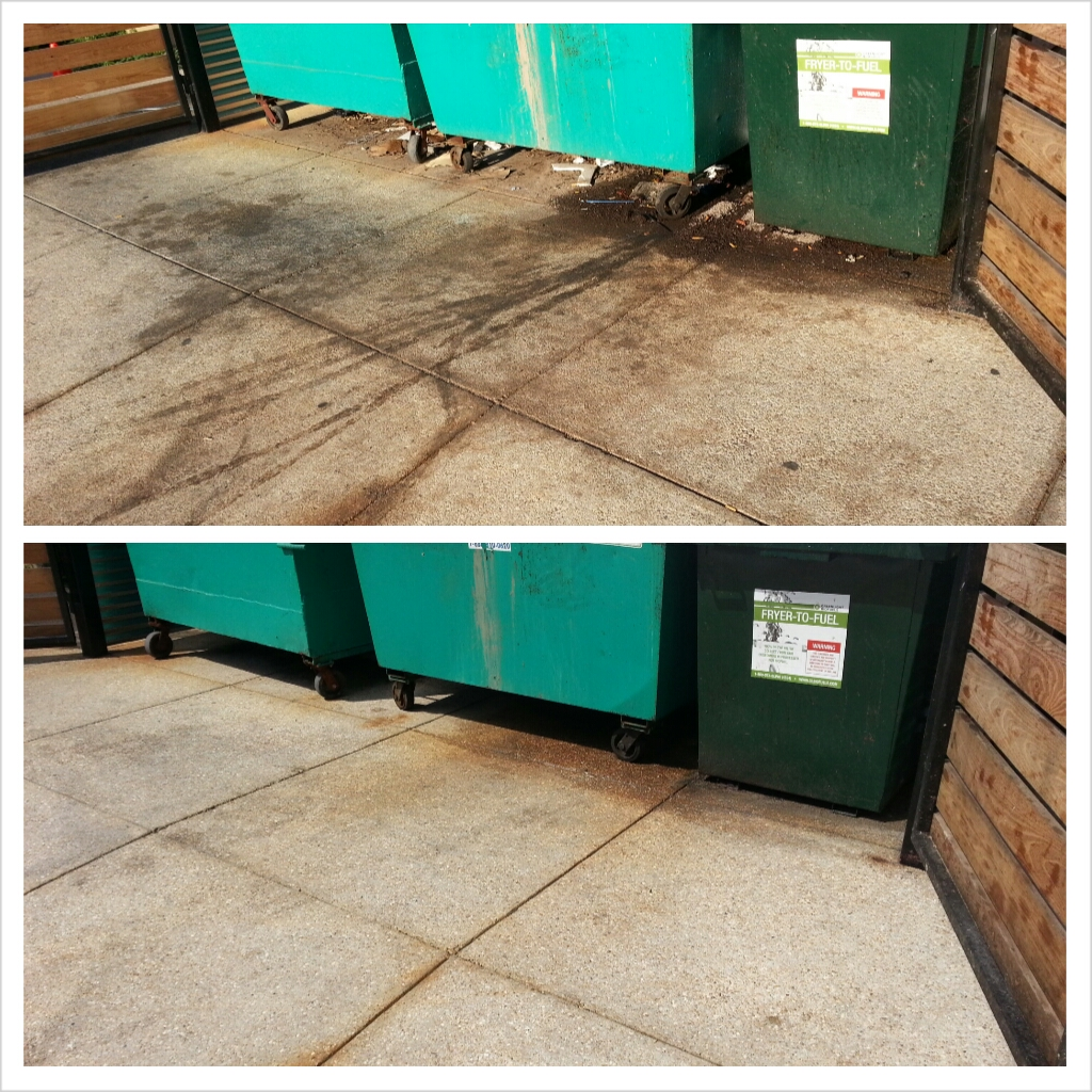 Dumpster pad clean up power washing